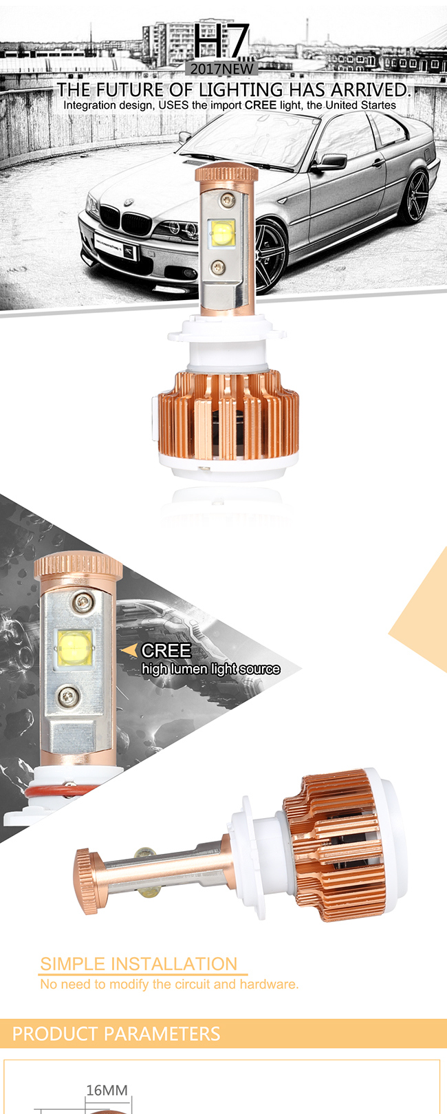 Providing OEM Service CREE Chips V16 H7 Front Headlight LED Lamp