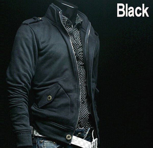 Fashion 100% Cotton Stand Collar Fashion Casual Men's Fleece Jacket