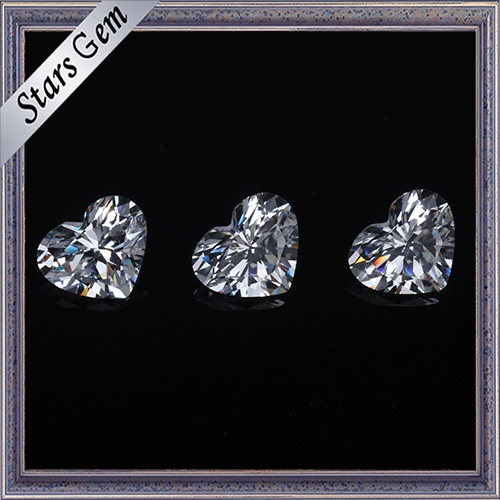 6X6mm Heart Shape Brilliant Cut White Color Cubic Zirconia Stones for Fashion Jewelry