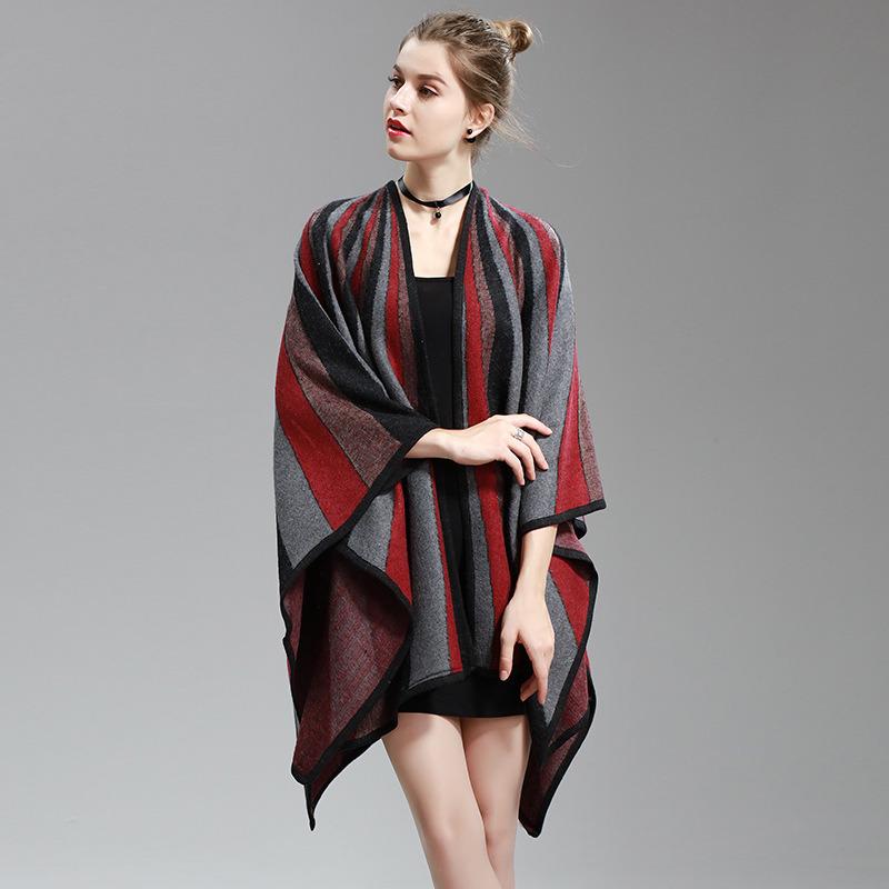 Womens Cashmere Feel Alike Fancy Stripe Printing Cape Stole Poncho Shawl (SP291)