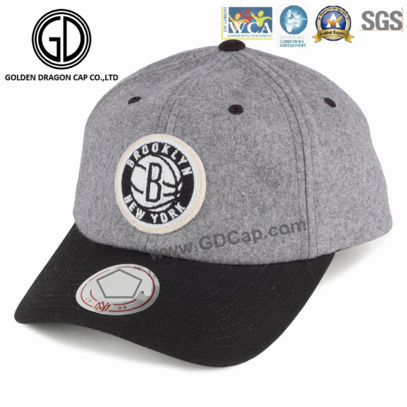 Fashion Man Sports Hat Baseball Cap with Custom Woven Badge Embroidery Logo