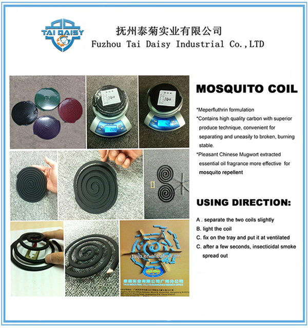 0.3% D-Trans Allethrin Ingredients Green Mosquito Coil Factory in China