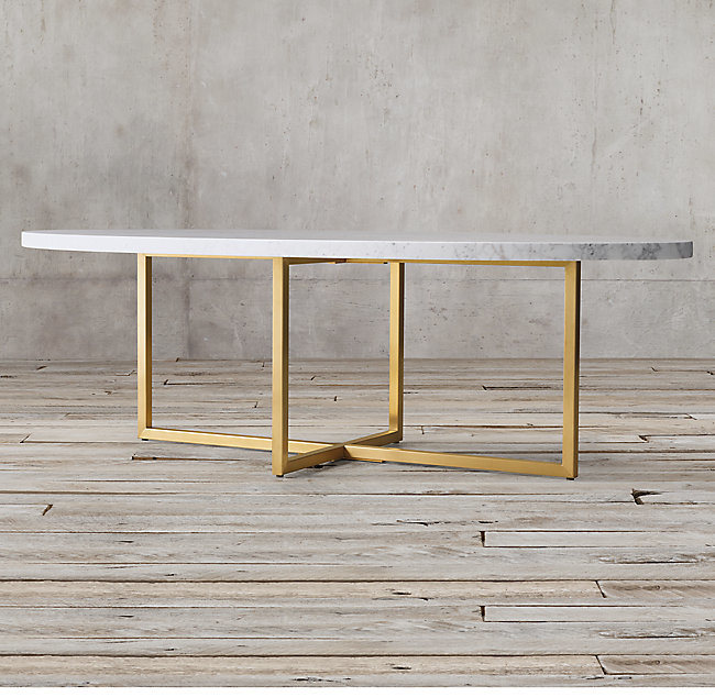 Modern Gold Stainless Steel Legs Marble Top Oval Round Coffee Table