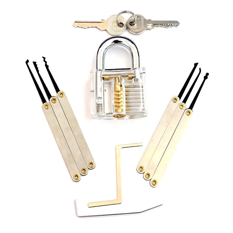 Transparent Practice Padlock with 8PC Lockpicking Tools (Combo 8-B)