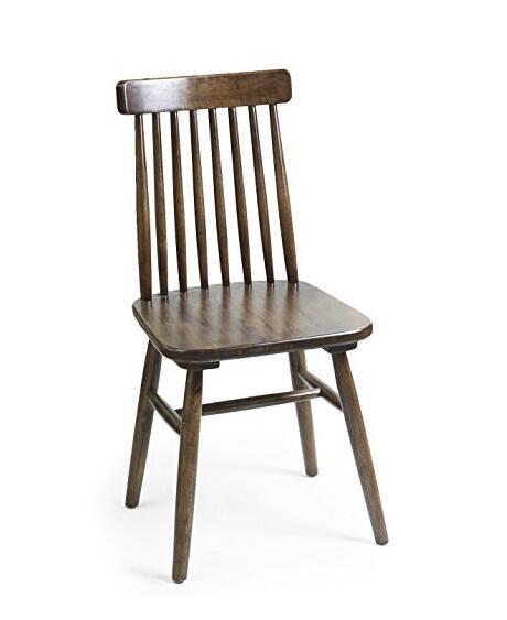 Homebeez Elm Wood Vintage-Style Dining Chair with Vertical Slat Back, Dark Brown