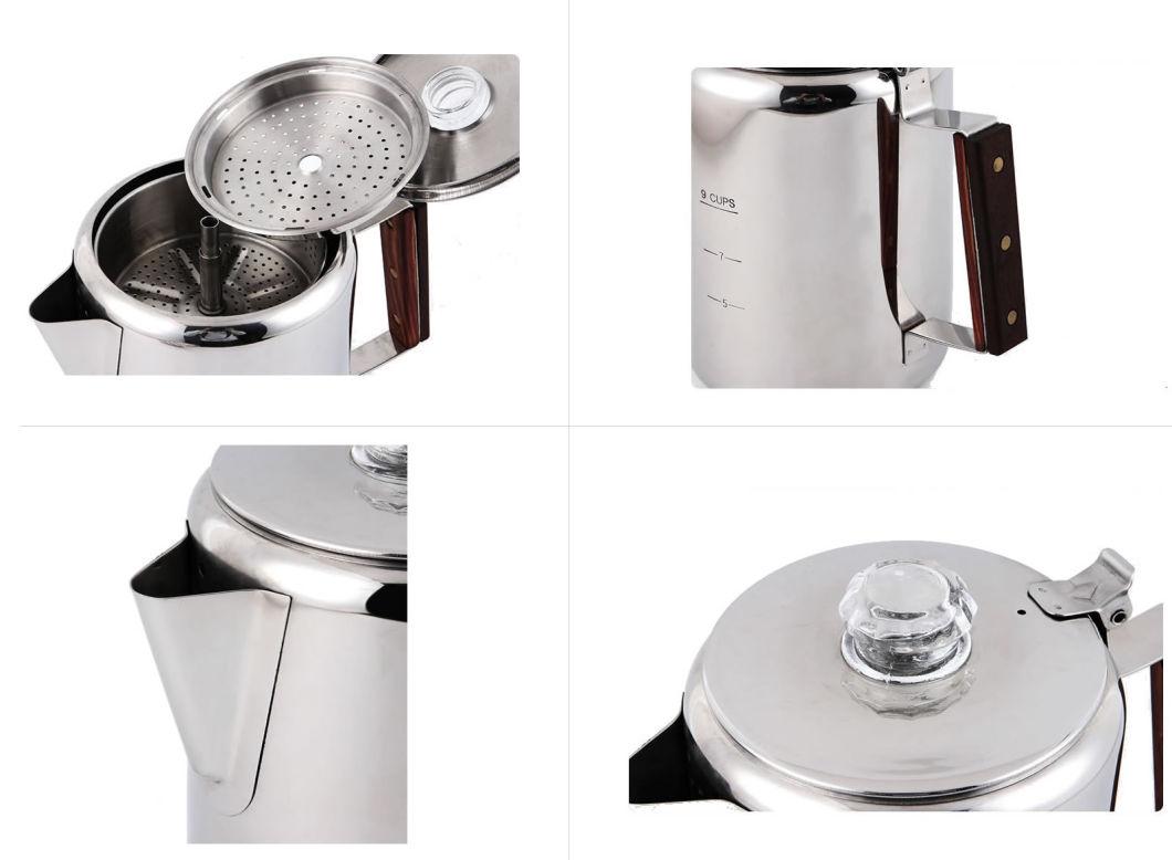 Cafetera de 9 tazas con percolador, hervidor de agua, cafetera rápida para estufa, factible para viajar