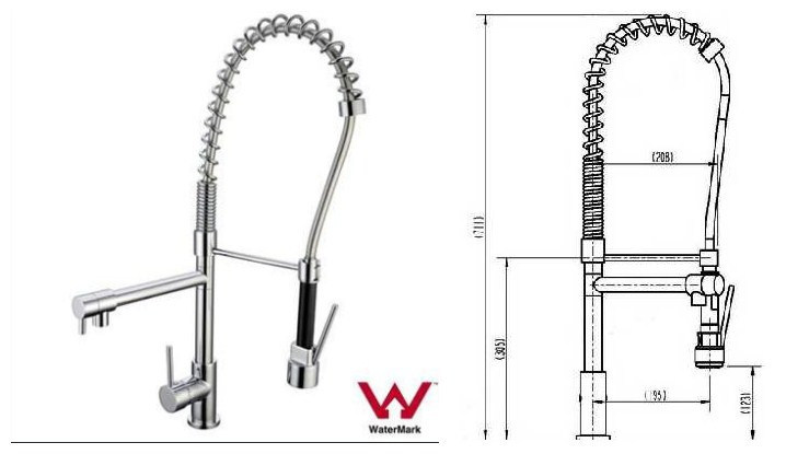 Watermark and Wels Approved Sanitary Ware Multi Function Brass Pull out Kitchen Spray Lever Faucet (201.55.04)