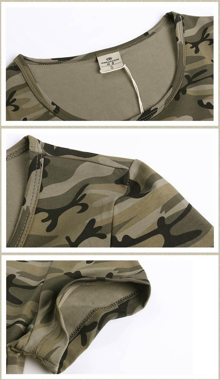 Lady Fashion Camouflage Pattern Printed Custom Cotton Round Neck Tee T Shirt