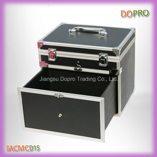 Black Easy Portable Aluminum Nail Tool Box with Drawer (SACMC015)