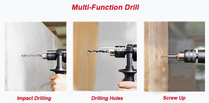 600W 0-2800rpm Hustiement Hammer Tool Impact Electric Drill (AT7216B)