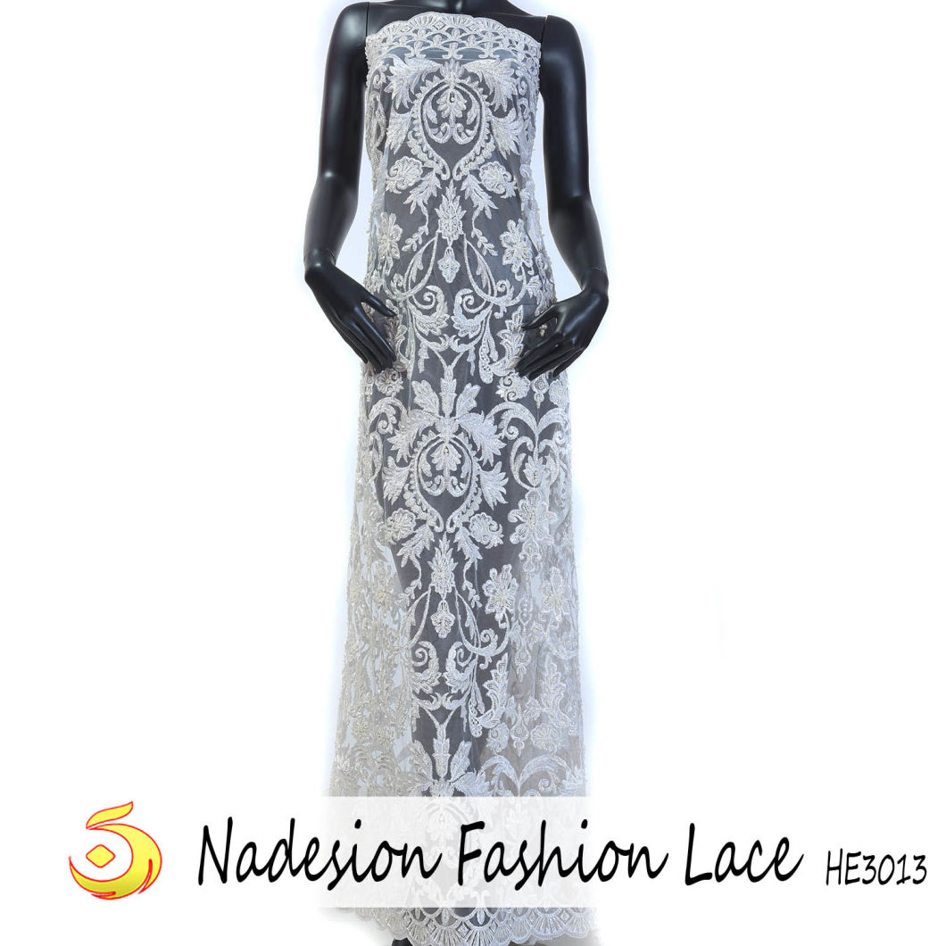 2018 White Floral Embroidered French Lace Dress High Fabric for Bridal