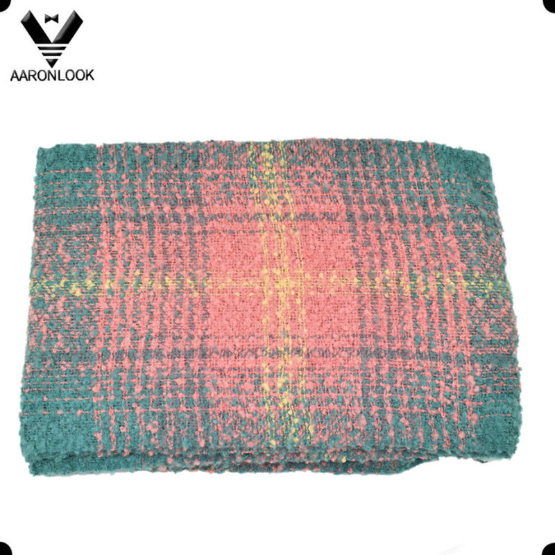 2016 Fashion Pop Loop Yarn Womens Checked Scarf with Fringes