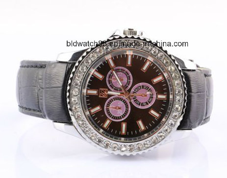 Luxury Women Diamond Watch with Leather Band
