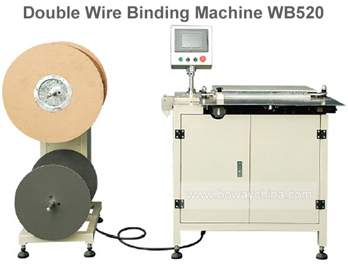 Industrial 75mm-520mm Bound Edge Double Wire Book Binding Machine
