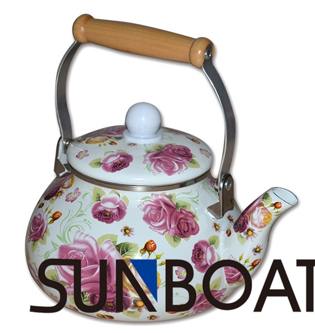 Enaml Round Printing Kettle with Single Handle