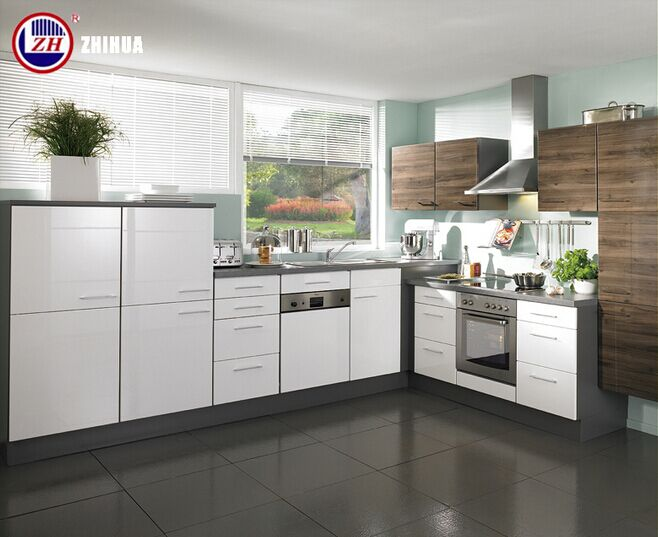 Waterproof Plywood Small Kitchen Cabinets with Glossy Lacqure Doors (customized)