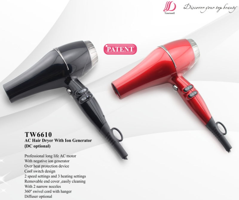 Colorful Durable Hair Dryer with 2 Narrow Nozzles Diffuser Optional