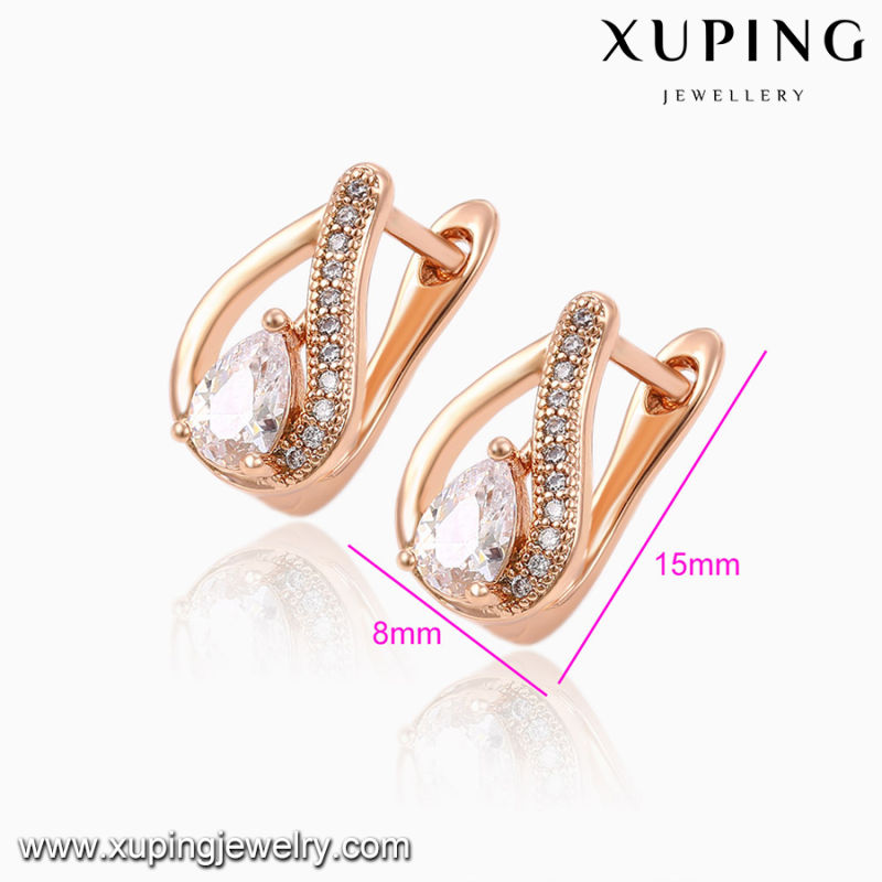 92031 Hot Sale Fashion Elegant Heart-Shaped Cubic Zircon Rose Gold-Plated Jewelry Earring Huggie