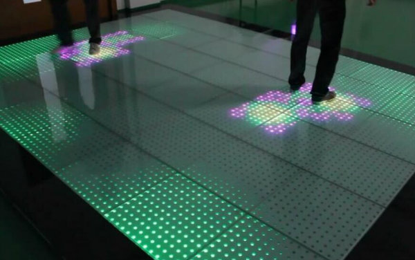 Hot Selling Tempered Glass LED Interactive Dance Floor Tile Lights