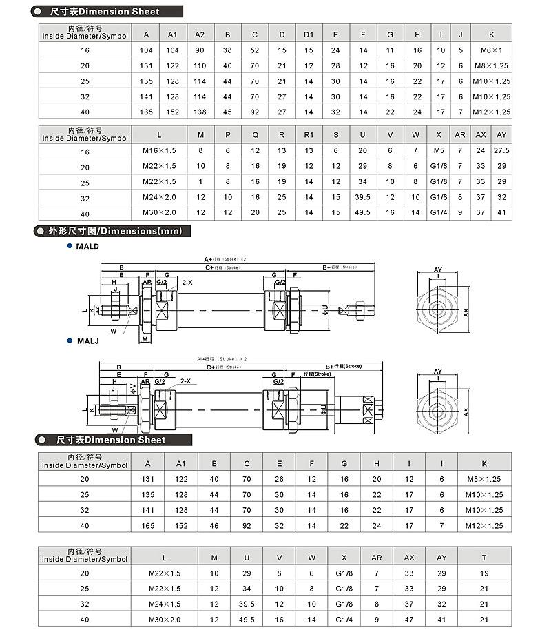 Mal Aluminium Alloy Mini Pneumatic Cylinders Bore32
