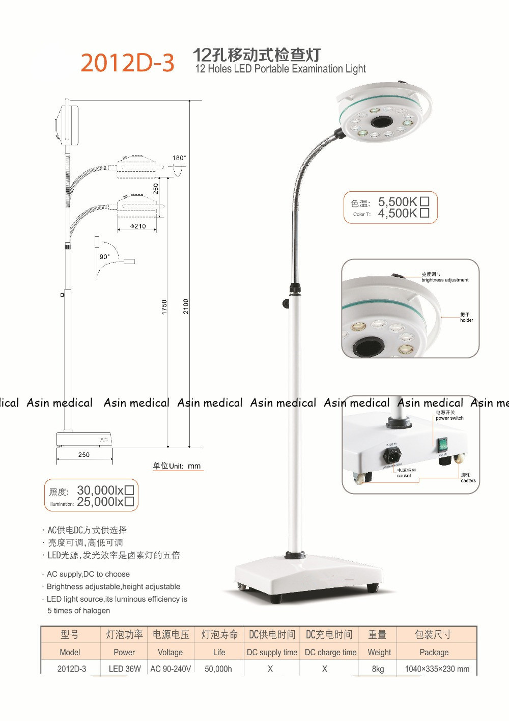 36W LED Surgical Medical Exam Light 12 Holes LED Floor Standing Examination Light Ce FDA Approval