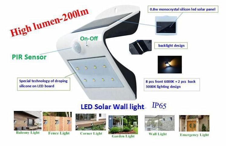 LED Solar Wall Lamp Smart Solar & Sensor LED Wall Light Ce RoHS