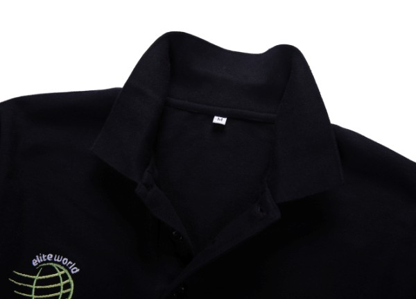 Stand Collar Plain Black Men's Polo Shirts