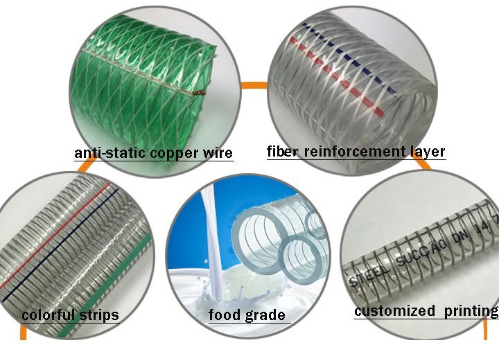 Clear PVC Steel Wire Helix Suction Tube Pipe Hose (1/2'' 5/8'' 3/4'')