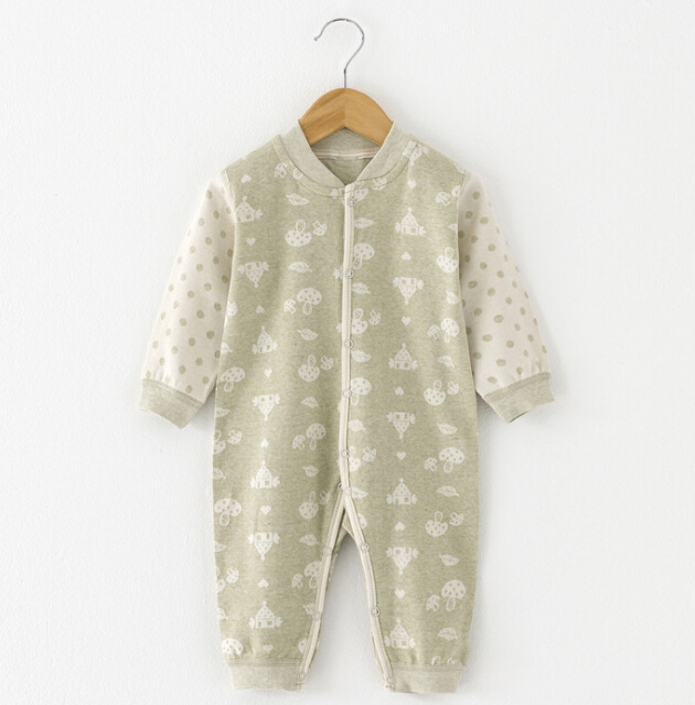 Colored Cotton Jacquard Baby Long Sleeve Romper