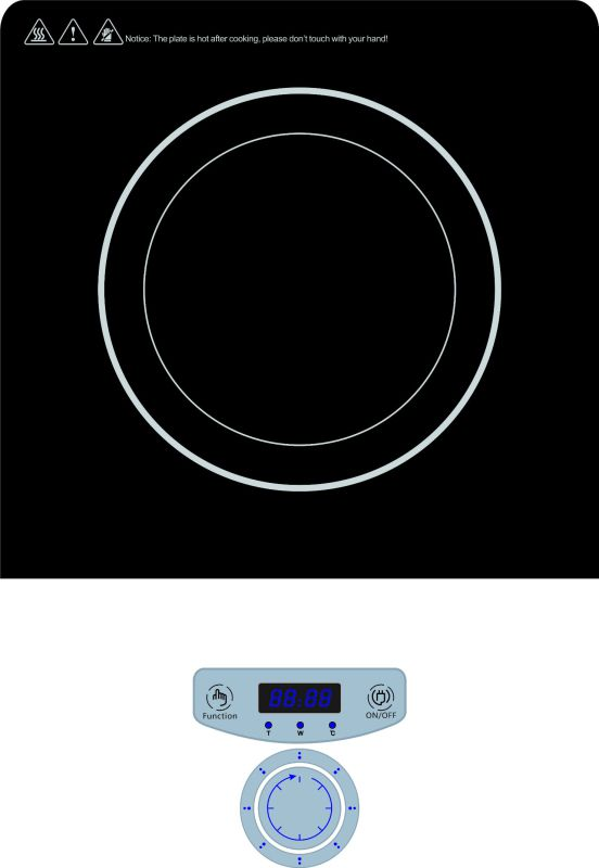 220V Ce CB Push Button Control Induction Cooktop with Knob