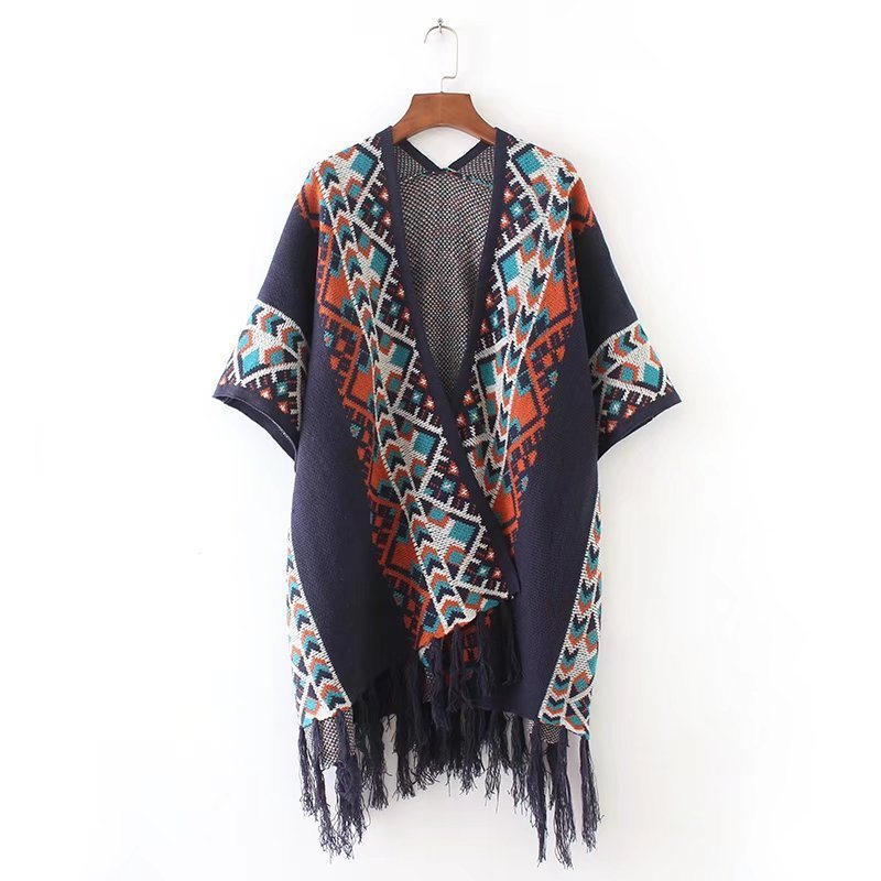 Womens Cashmere Feel Knitted Jacquard Printing Fancy Cape Stole Poncho Shawl (SP617)