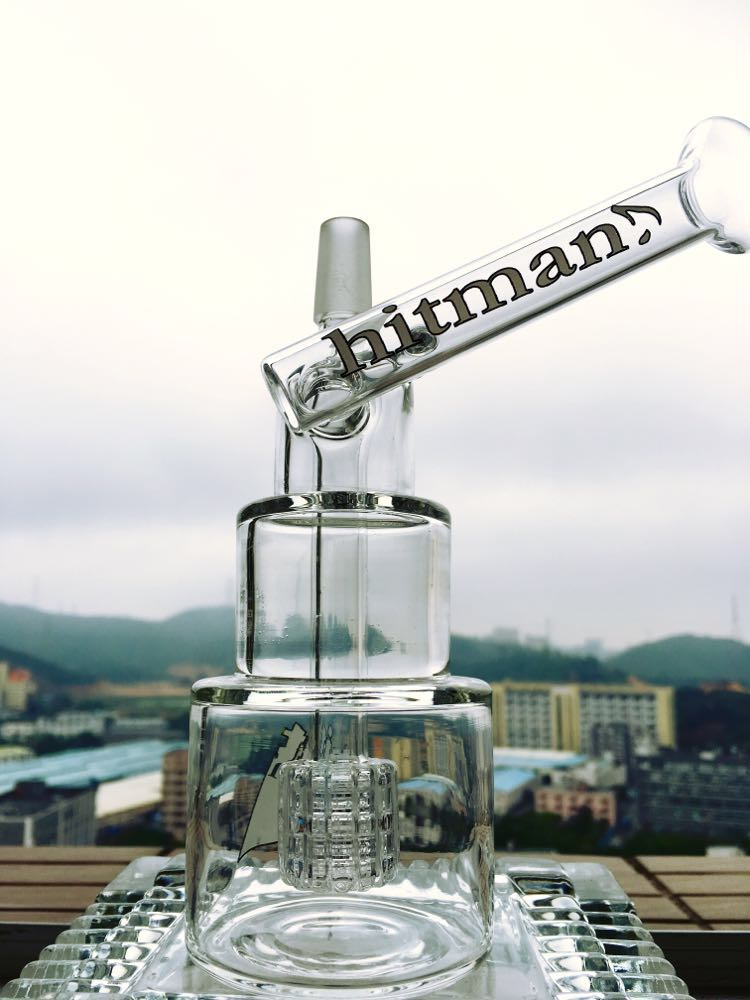 8 Inch Height Oil Rig Glass Pipe Hitman Glass Pipe Quality Smoking Glass Pipe Hammer Head Cake DAB Rigs Cake Waterpipe with Birdcage Percolator