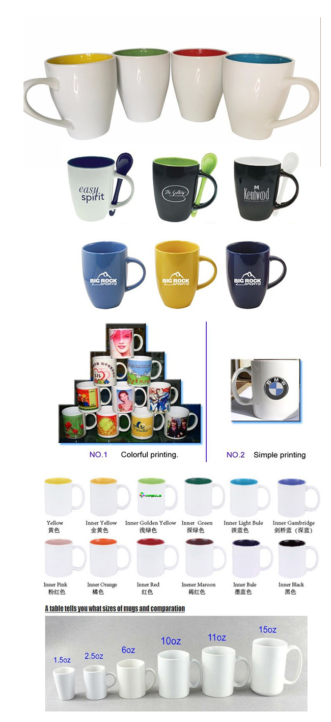 Promotional Ceramic Stoneware Coffee Mugs with Spoons, Customized Logo