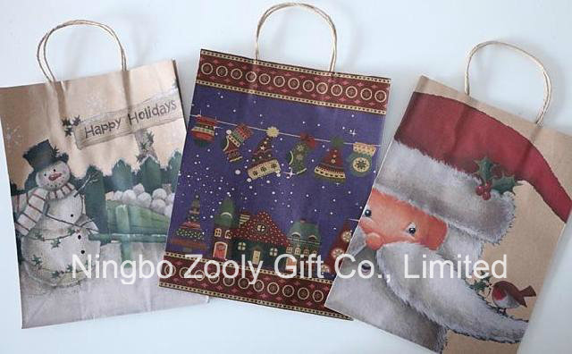 Wholesale Christmas Printed Recycled Kraft Paper Gift Bags