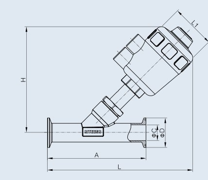 Sanitary Stainless Steel Pneumatic Clamped Angle Seat Valve (DIN-No. RJZ1204)