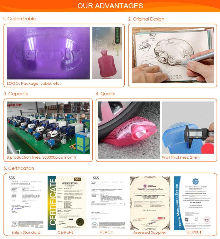 Popular Deep Blue New Design PVC Hot Water Bag