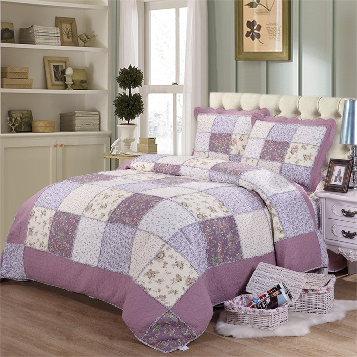 100% Cotton Quilts Embroidery Plaid Bedding Set