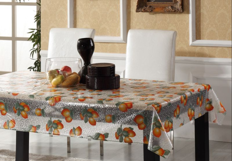 Cheap PVC Printed Embossed Transparent Tablecloth