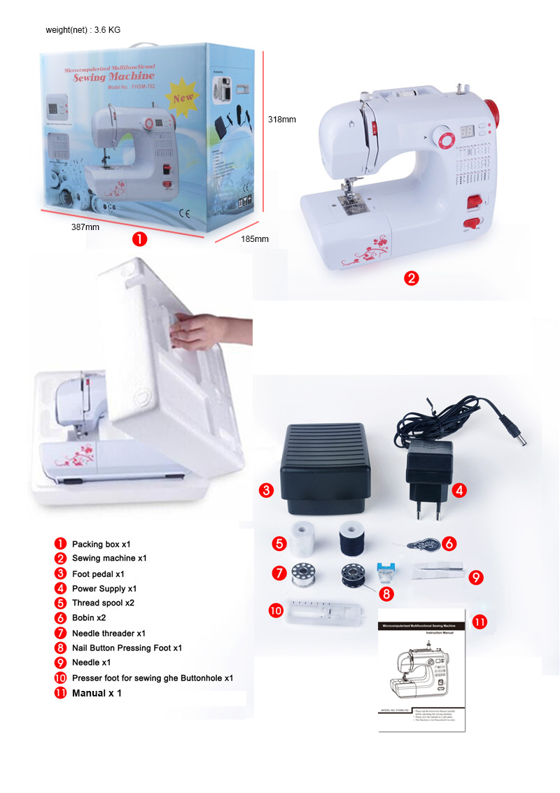 Fhsm-702 Portable Motor Button Hole Sewing Machine with LED Display