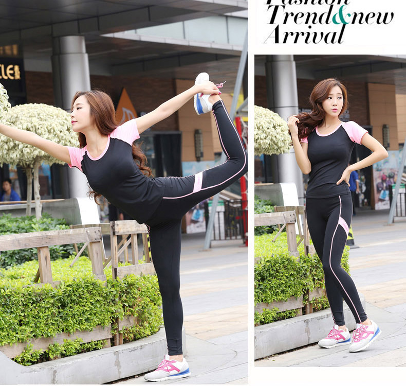 High Quality Contrast Color Polyester Elestane Yoga Sets