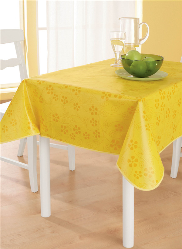 Nonwoven Fabric Backing Plastic Cheap PVC Printed Tablecloth Tj0093