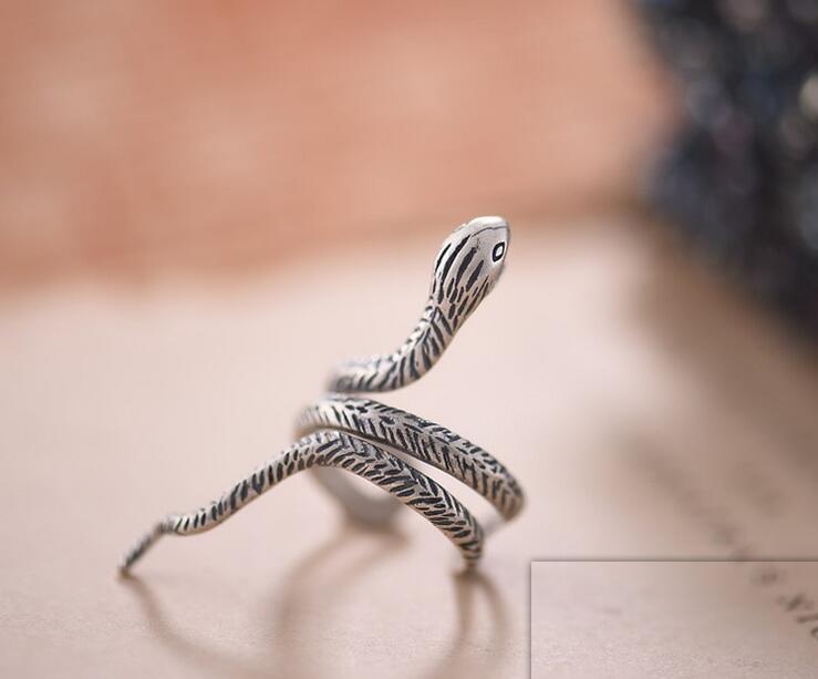 925 Sterling Silver Unisex Ring Snake Modelling Half Open
