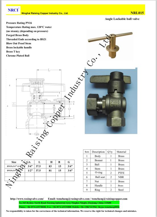 Brass Angle Lockable Ball Valve