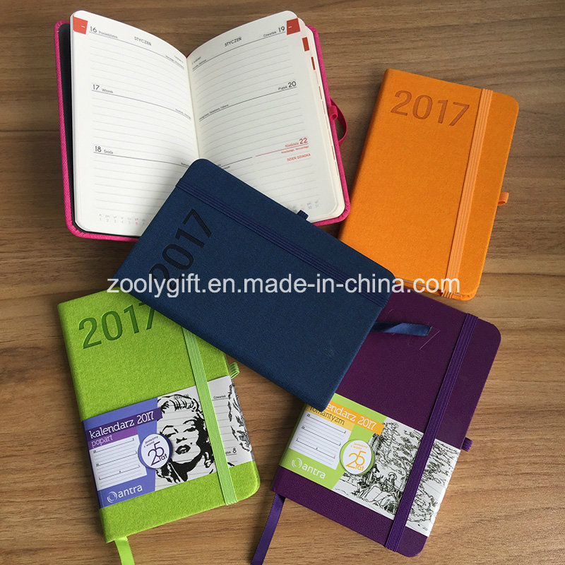 Promotional New 2017 Color PU Leather Agenda Planner Journals Notebook