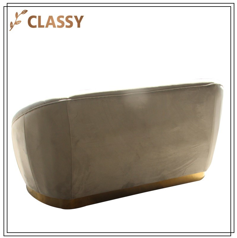 Flannel Top Gold Stainless Steel Base Couple Sofa