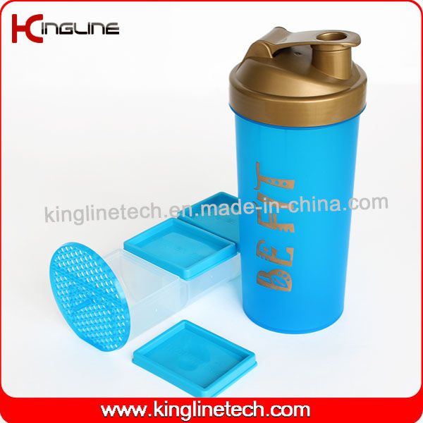 1000ml Plastic Protein Shaker Bottle with Blender Mixer Ball Inside (KL-7060)