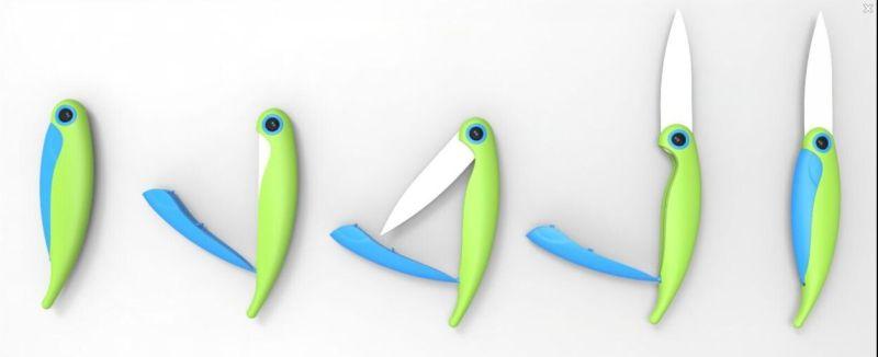 Fashionable Ceramic Folding Fruit Tools/Pocket Knife in Cute Bird Shape