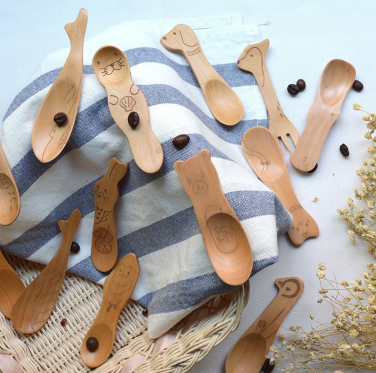 Cartoon Animal Natual Wooden Small Spoon