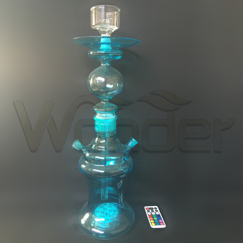 Blue Glass Hookah with LED Control