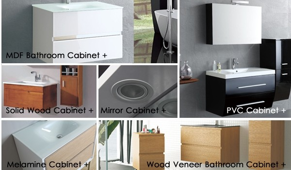 Floor Standing Melamine Bathroom Vanity with Mirror Cabinet